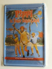 """Metaalplaat Pippi Langkous """"Pippi in taka-tuka-land"""""""