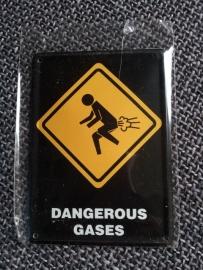 """Metaalplaatje """"Dangerous gases"""" 8 x 11 cm"""