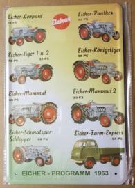 Metaalplaat Eicher-Programm 1963