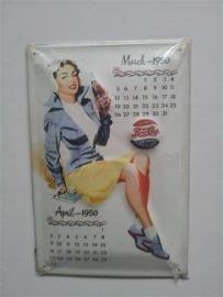 Metaalplaat Pepsi Cola kalender