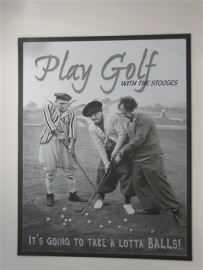 Metaalplaat The Three Stooges play golf