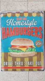 Metaalplaat Homestyle hamburgers