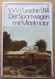 Metaalplaat Porsche VW 914