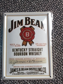 Metaalplaatje Whiskey 8 x 11 cm Jim Beam