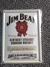 Metaalplaatje Whiskey 8 x 11 cm Jim Beam