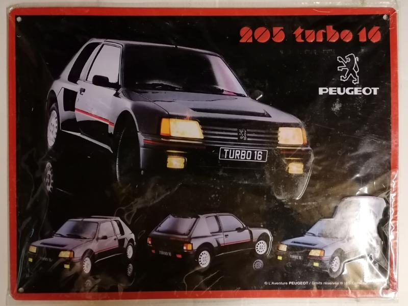 Metaalplaat Peugeot 205 Turbo 16