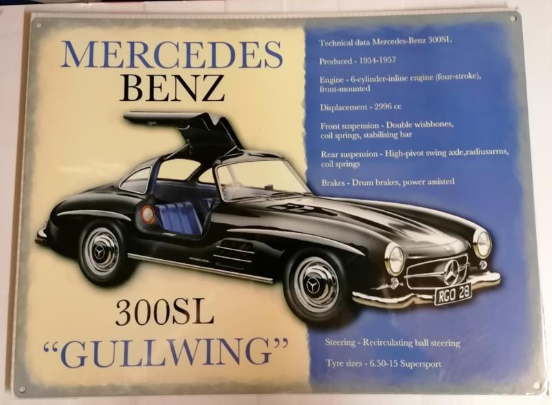 """Metaalplaat Mercedes Benz 300SL """"Gullwing"""""""