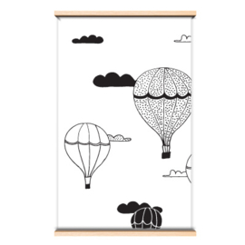 Behang luchtballon  zwart/wit