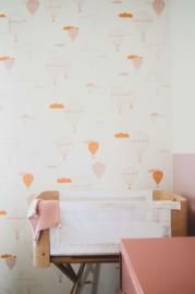 Behang luchtballon geel-roze