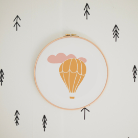 Luchtballon roze-geel