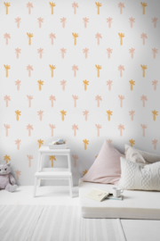 Behang palmboom roze