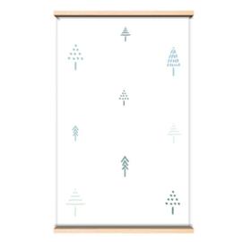 Behang blauwe boompjes