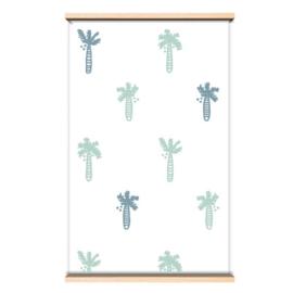 Behang palmboom groen/blauw