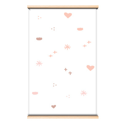 Behang roze hartjes