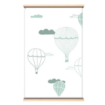 Behang luchtballon blauw/groen