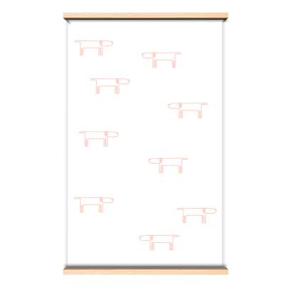 Behang roze hondjes op de muur