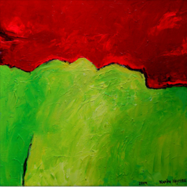 Abstract landschap rood, geel en groen