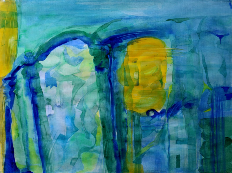 Onder de zeespiegel, abstract aquarel