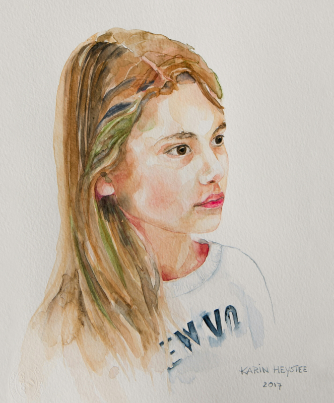 Portret in aquarel