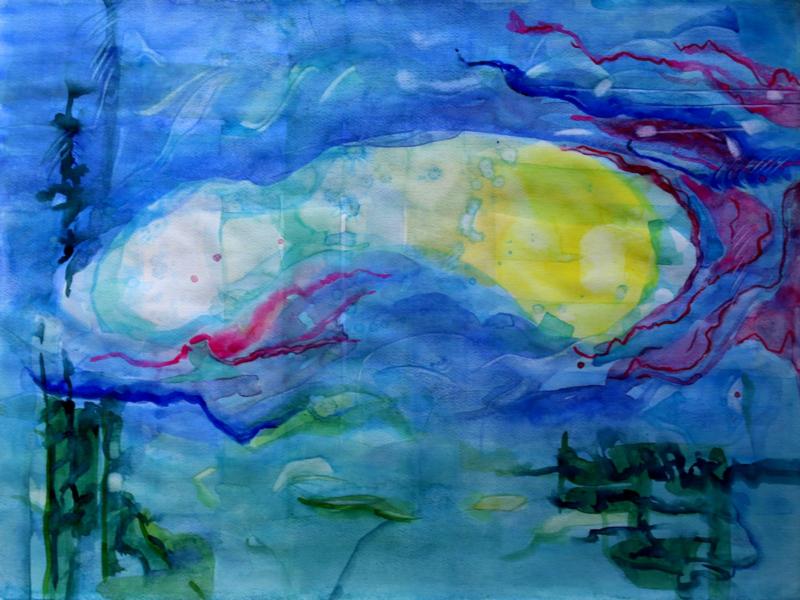 Onderwaterwereld, abstract aquarel