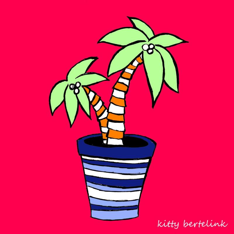Palm in gestreepte pot - Kitty Bertelink