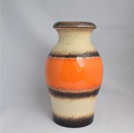 Scheurich grote vaas oranje bruin decor jaren '60