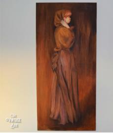 Bijzonder olieverfschilderij 'Vrouw met doek'