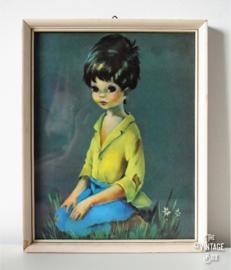 Ingelijste vintage prent jongentje met gele blouse