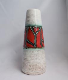Scheurich grote vaas rood groen patroon