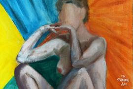 Modern schilderij 'In gedachten'
