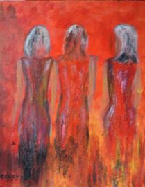Drie vrouwen, schilderij Corrie Liefhebber, olie op canvas