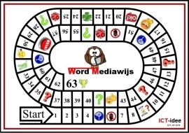 """Ganzenbordspel """"Word Mediawijs""""."""