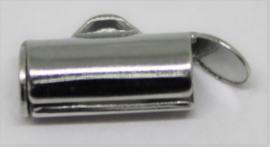 Eindkap voor weefarmband zilverkleurig 10 mm per 2 stuks