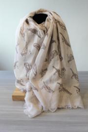 Sjaal vogels beige