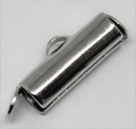 Eindkap voor weefarmband zilverkleurig 13 mm per 2 stuks