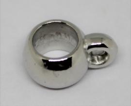 Kraal met oog voor koord zilverkleurig acryl Ø10mm