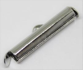 Eindkap voor weefarmband zilverkleurig 20 mm per 2 stuks