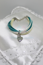 Armband Suede Groen / Wit (nr. 114)