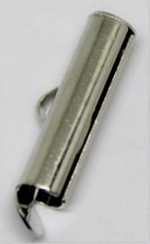 Eindkap voor weefarmband zilverkleurig 15 mm per 2 stuks