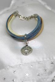 Armband Suede Blauw/Beige (nr. 112)