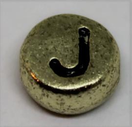 Letterkraal J goud  Ø 6mm