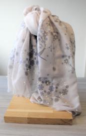 Sjaal bloemen / parels grijs