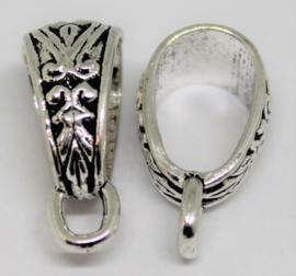 Kraal ovaal met hang oog stainless steel kleur 9x18 mm