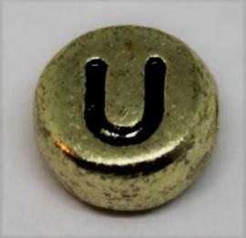 Letterkraal U goud  Ø 6mm