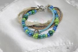 Ibiza style armband Aqua / naturel (nr. 115)