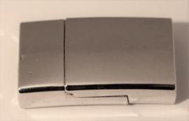Magneetsluiting plat leer zilver 14x24mm