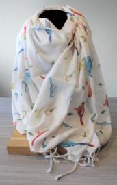 Sjaal vogeltjes wit