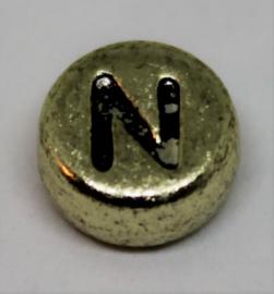 Letterkraal N goud Ø 6mm