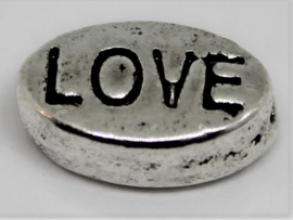 Kraal ovaal Love  stainless steel 10x6 mm