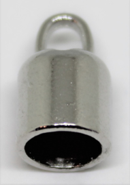 Eindkap zilverkleurig voor Ø 6mm leer per 2 stuks
